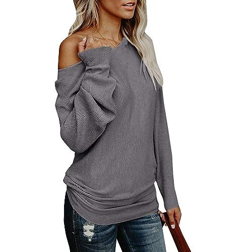 7598b365598 Yknktstc Womens Sweaters Off Shoulder Pullover Sweater Long Sleeve  Oversized Knit Jumper