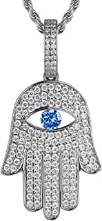 KRKC&CO Iced Out Hamsa Hand Pendant Necklace, with 3mm 22
