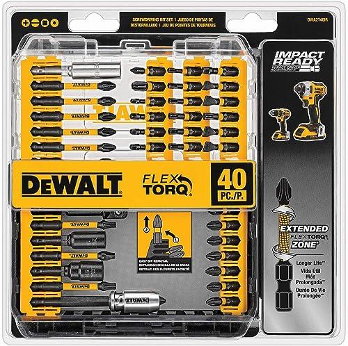 DEWALT Screwdriver Bit Set, Impact Ready, FlexTorq, 40-Piece (DWA2T40IR), Black/Silver Impack Ready FlexTorq Screw Dr...