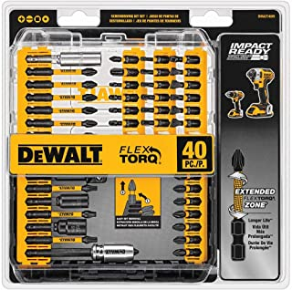 DEWALT Screwdriver Bit Set, Impact Ready, FlexTorq, 40-Piece (DWA2T40IR),Black/Silver..