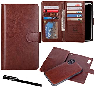 for iPhone X/iPhone Xs Wallet Case, Urvoix Leather Flip Card Holder Cover with Detachable Magnetic Back Case for iPhone Xs iPhone X Phone Case(5.8-inches Display) Brown