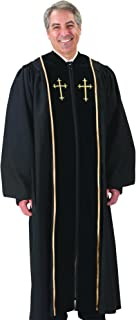 Black Pulpit Robe with Beautiful Gold Embroidery (53 Small: 5'6