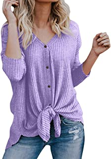 Womens Button Down V Neck Tie Front Long Sleeve Loose Fitting Henley Top