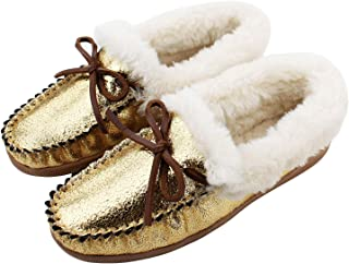 HOSWO Women's Slippers, Moccasins Slip on Sheepskin Slippers for Woman Memory Foam Breathable Anti Slip Ourdoor Indoor House Shoes with Fuzzy Plush Faux Fur Lining