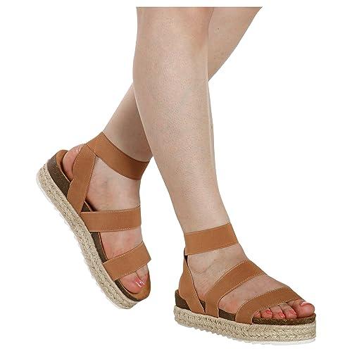 97ff3b8867 Nature Breeze Kacie-02 Women's Casual Summer/Spring Open Toe Espadrille Wedge  Sandals