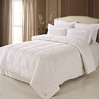 Fresh Ideas Australian Wool Filled Cotton Comforter Moisture Wicking Hypoallergenic, Full/Queen