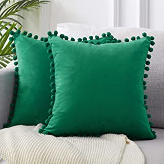Top Finel Decorative Throw Pillow Covers 26 x 26 Inch Soft Solid Velvet Cushion Covers for Couch Sofa Bed 65 x 65 cm, Pack of 2, Dark Green