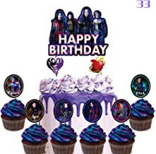 33 Cake Decorations for Descendants Cake Topper Cupcake Toppers Birthday Party Supplies for Children