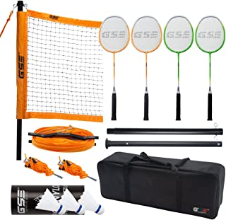 GSE Games & Sports Expert Professional Portable Badminton Set. Including Badminton Net System, 4 Badminton Racquets & 3 Nylon Shuttlecocks