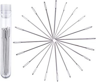 eBoot 5.2 cm Large-Eye Stitching Needles Hand Sewing Needles for Leather Projects with Clear Bottle, 20 Pack