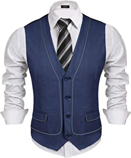 Men's Business Suit Vest Casual Layered Slim Fit Wedding Vests Skinny Dress Waistcoat