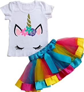 AISHIONY Kid Girl 2nd Birthday Tutu Princess Dress Shirt Rainbow Skirt Outfit2-5