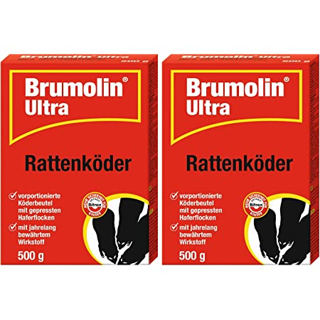 Rattengift Brumolin Ultra Rattenk/öder 4x500 gr Rattenportionsk/öder Rattenbek/ämpfung