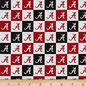 Sykel Enterprises NCAA Cotton Broadcloth Alabama Collegiate Check Fabric, Team Color, Fabric By The Yard