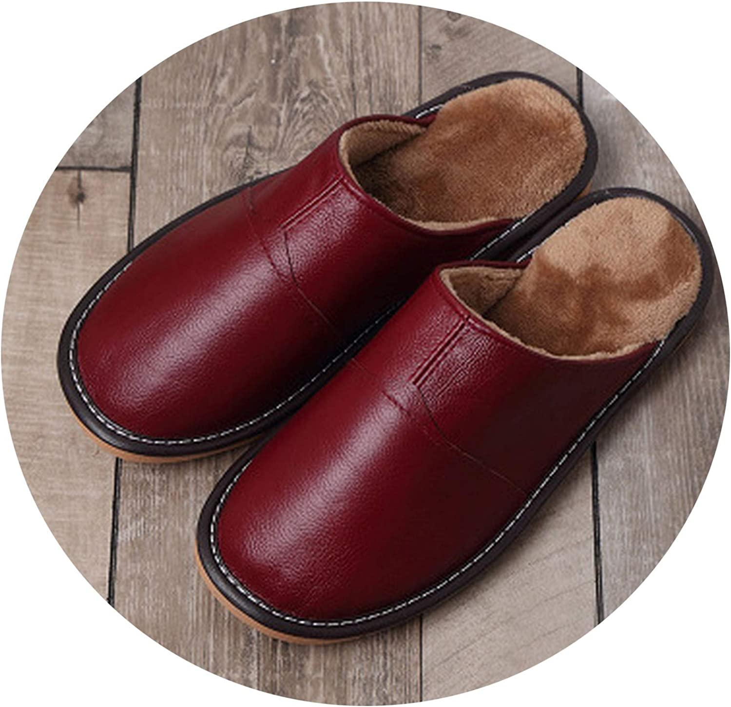 New Genuine Leather Home Slippers Women Men Slippers Plush Warm Indoor shoes