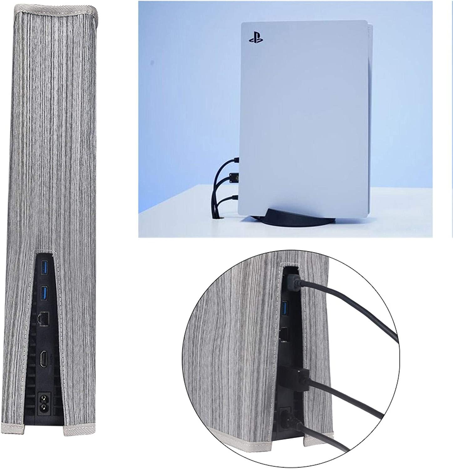 PS5 Console Dust Cover Custom Designed for Playstation 5 Console with Cable Port Precision Cut Protective Cover Case Lurdarin Dust Cover for PS5