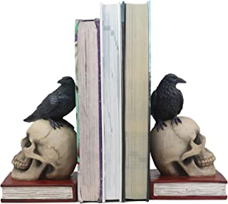 Ebros Edgar Allan Poe Harbinger of Doom and Bad Omens Raven Crow Perching On Skull with Ancient Book Pair of Bookends Statue 7.5