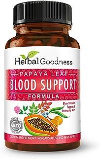 Papaya Leaf Blood Support Formula - Blood Platelet, Bone Marrow, Immunity Support - Blood Cleanse and Detox - Super Food H...