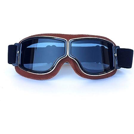 Yopria Fliegerbrille Herren Motocross Brille Vintage Sonnenbrillen Damen Mtb Brille Im Freien Rennfahrer Motorrad Flieger Pilot Stil Cruiser Steampunk Brillen Downhill Brille Schwarz Auto