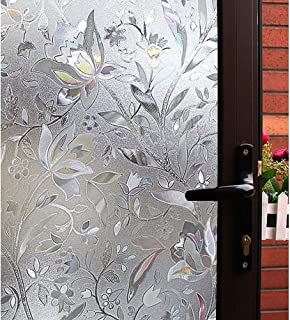 Mikomer Tulip Decorative Window Film,No Glue Privacy Film,Stained Glass Door Film,Static Cling Heat Control Anti UV Decoration for Home and Office,35 inches by 78.7 inches