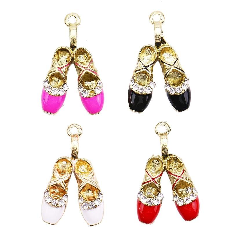 Monrocco 16pcs Enamel Ballet Shoes Charms Pendant DIY Jewelry for Necklace Bracelet Making Accessaries