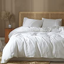 غطاء لحاف HYPREST 100% كتان مقاس كينج، أغطية لحاف سرير بيضاء جيدة التهوية ناعمة أغطية لحاف تناسب جميع المواسم (بدون حشو)