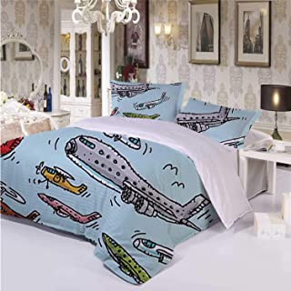 Airplane Decor Warm 3 Piece Bedding Set,Planes Fying in Air Aviation Love Airport Helicopters and Jets Cartoon for Room,Queen