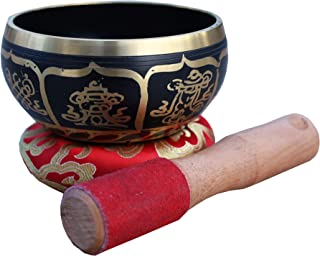 DharmaObjects Tibetan Meditation Om Mani Padme Hum Peace Singing Bowl With Mallet