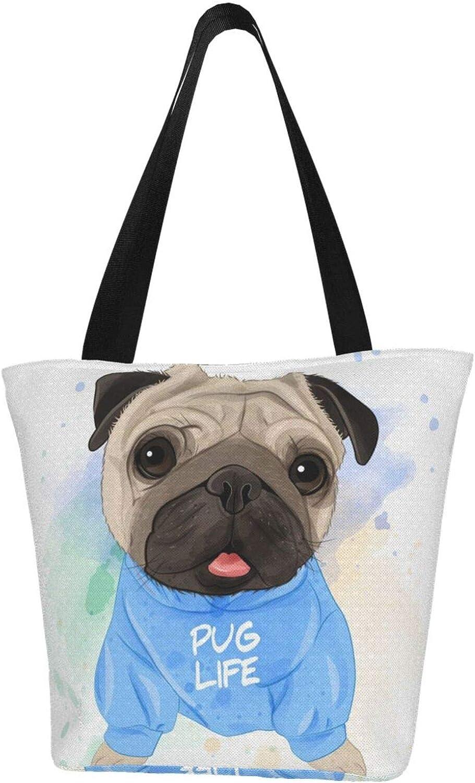 Baby Cute Pug Dog Gift Puppy Themed Printed Women Canvas Handbag Zipper Shoulder Bag Work Booksbag Tote Purse Leisure Hobo Bag For Shopping
