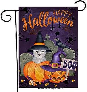 Artofy Happy Halloween Cat Pumpkin Home Decorative Boo Garden Flag, House Yard Jack O Lantern Witch Hat Candy Grave Cross ...