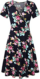 KASCLINO Women's Cross V Neck Short Sleeve Unique Wrap Casual Flared A-line Midi Dress with Pockets