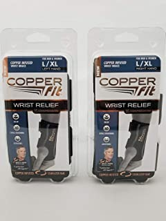 Copper Fit Compression Wrist Sleeve Large XLarge SET Left and Right Wrist Sleeve