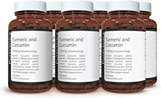 1100mg Turmeric and Curcumin - 1080 tablets (6 bottles) x 1100mg - 95% Curcumin - 1000mg Turmeric root extract - With 5mg black pepper extract for 300% increased absorption. SKU: TUCRx6