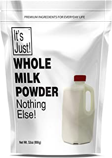 It's Just - Whole Milk Powder, Made in USA, Hormone Free, Powdered Dry Milk, Shelf Stable, 32oz
