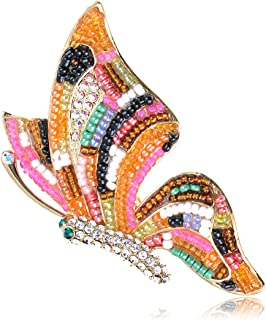 Alilang Swarovski Crystal Elements Multi-Coloured Beaded AB Accent Butterfly Pin Brooch