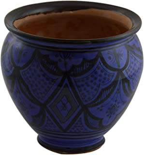 Flower Pot Moroccan Spanish Garden Drain Hole Ceramic Planter Handmade Blue