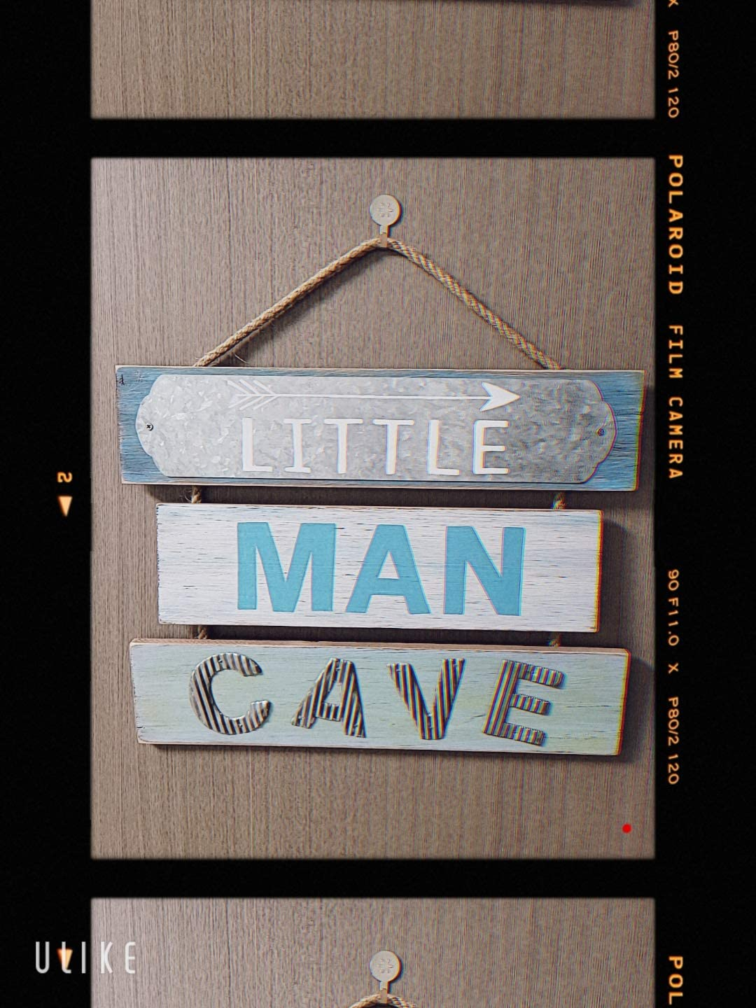 Little Man Cave Wood Sign Blue Blooming Party Nursery Wall Decor for Little Baby Boy or Toddler