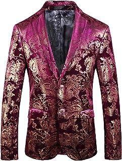 Mens Gold Velvet Blazer Slim Fit Paisley Wedding Party Tuxedo Jacket Stylish Sequin Suit Jackets Coat