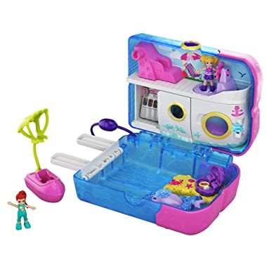 Polly Pocket Pocket World Sweet Sails Cruise Ship Compact, 2 Micro Dolls, Accessories, Multi