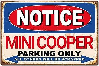 Mini Cooper Car Tin Sign Metal Sign,Decor for Home Office Bar Pub Garage Man Cave TIN Sign 7.8X11.8 INCH