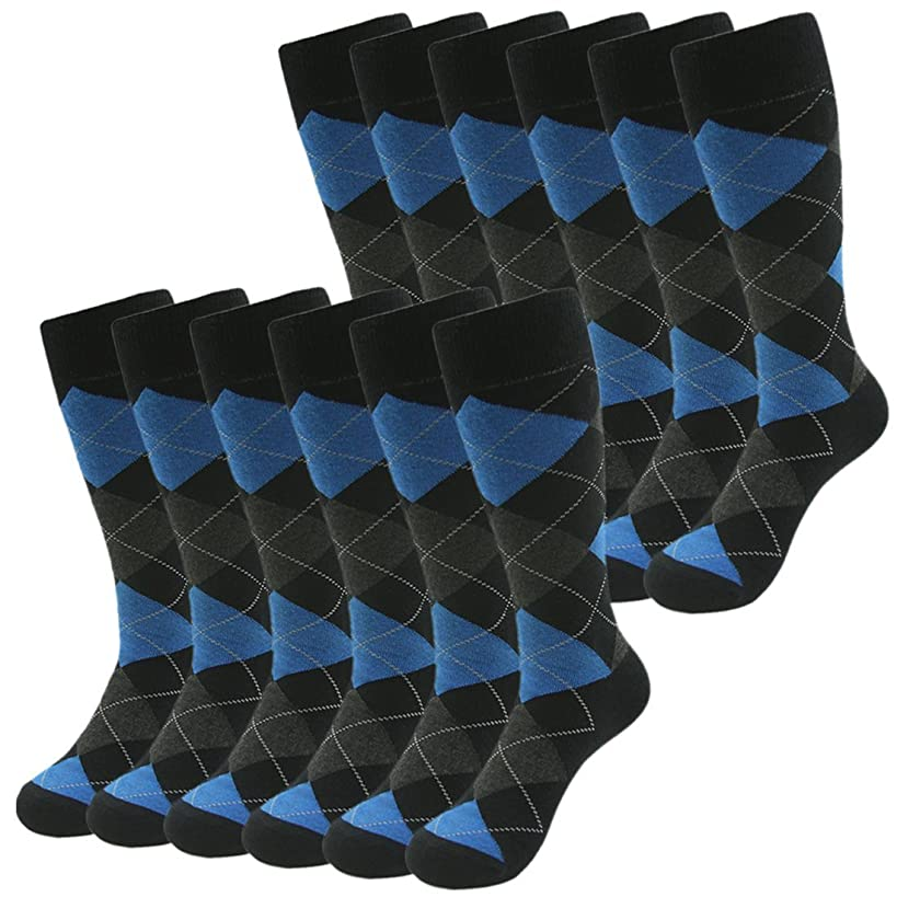 Casual Crew Dress Socks, SUTTOS Mens Fashion Argyle Striped Flag Patterned Cotton Socks,2-12 Pairs