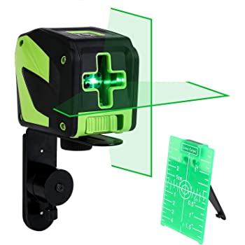CO-Z Laser Level Green, 180-Degree Cross Line Laser Self Leveling Tool for Hanging Pictures Construction, Self-Leveling Horizontal and Vertical Laser Leveler with Magnet Pivoting Base and Laser Target