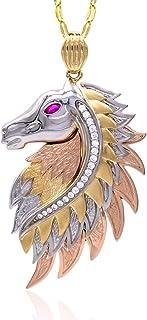 Collana in oro - 14K. Testa di cavallo con swarovsky e occhio con rubino. peso gr 11.40.