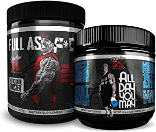 Rich Piana 5% Nutrition Bundle | All Day You May 10:1:1 BCAA Muscle & Joint Recovery Powder + FAF Overdosed Nitric Oxide Boosting Preworkout Powder (Blue Raspberry)