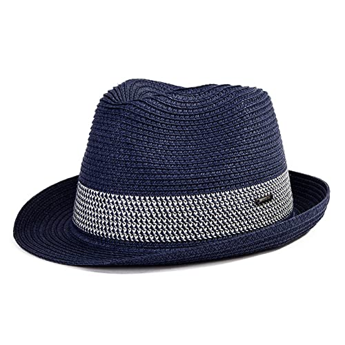 de0f963b473 Packable Straw Fedora Panama Sun Summer Beach Hat Cuban Trilby Men Women  55-61cm