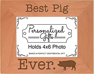 ThisWear Potbelly Pig Gifts Best Pig Ever Natural Wood Engraved 4x6 Landscape Picture Frame Wood