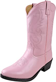 Smoky Children's Kid's Pink Leather Western Cowboy Boot