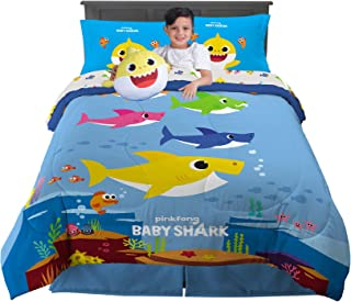 Franco Kids Bedding Super Soft Comforter with Sheets and Cuddle Pillow Bedroom Set, 6 Piece Full Size, Baby Shark