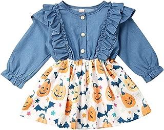 Baby Girls Halloween Outfits Tutu Skirt Suspender Dress My 1st Halloween Long Sleeve Pumpkin Floral Ruffle Strap Set