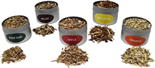 Jax Smokin Tinder Extra FINE Smoke Gun Wood Chips Variety Pack - Five of Our Popular Premium FINE Chips in 4 Ounce Tins for Handheld Smoke Infuser (Apple, Post Oak, Orange, Mesquite and Pecan)